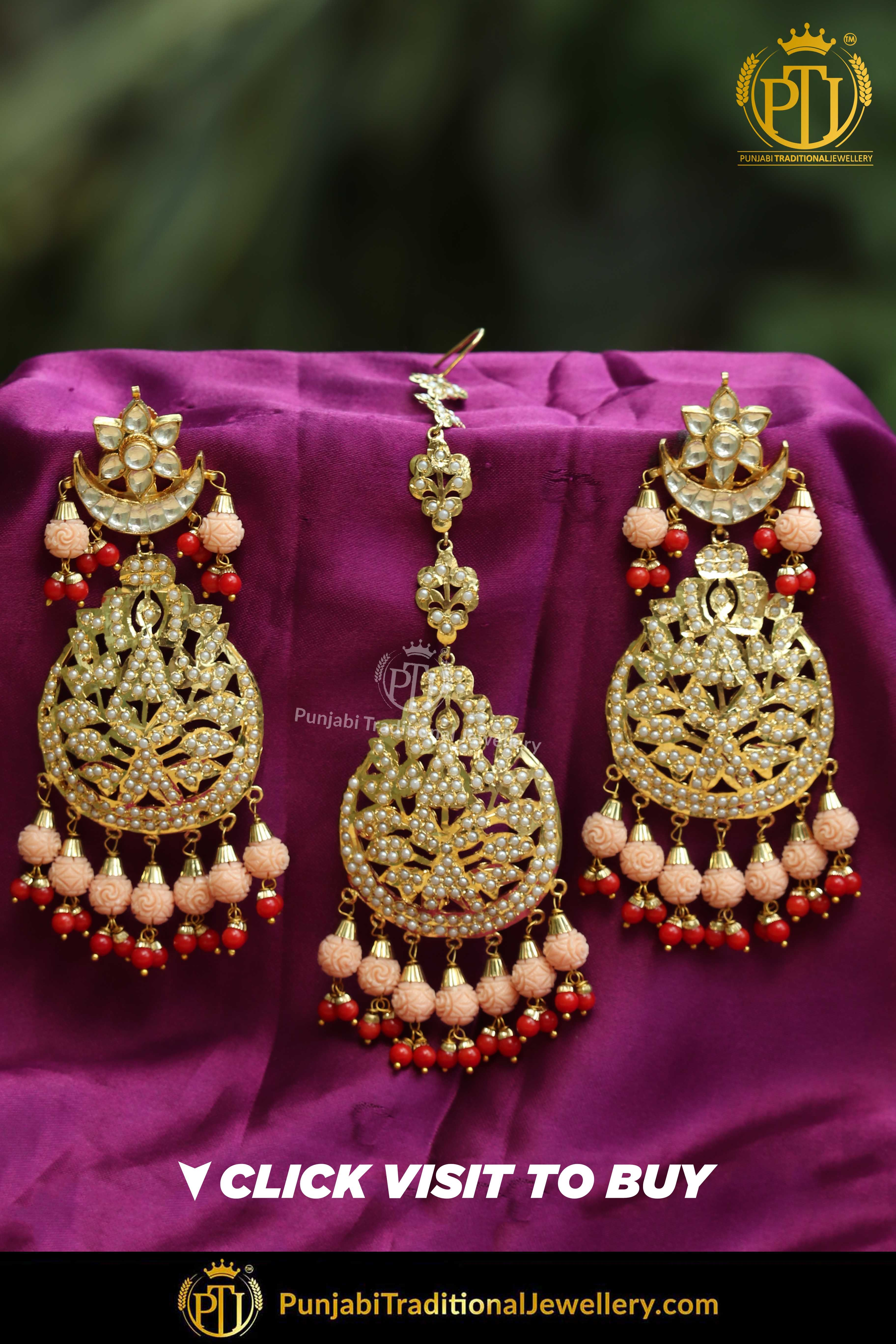 Gold finished pink red jadau pearl earring tikka set