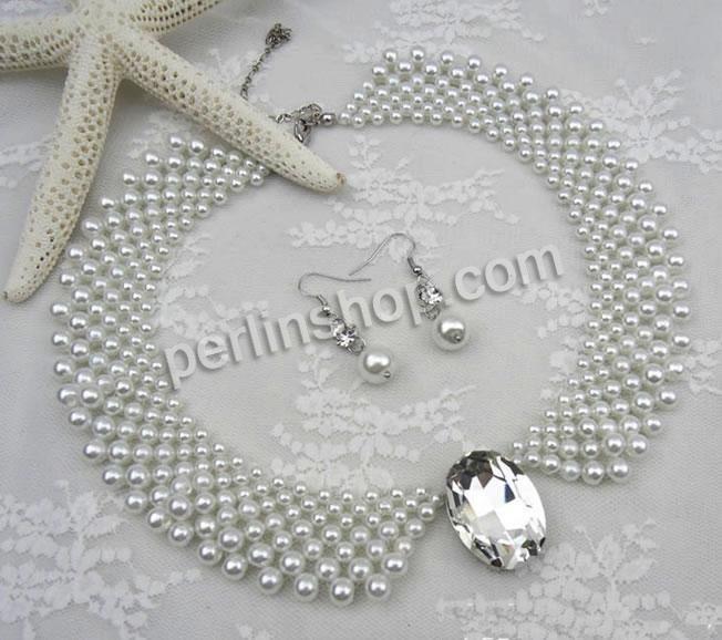 Glasperlen Ohrring & Halskette, Zinklegierung Karabinerverschluss, Messing Haken, mit Verlängerungskettchen von 10cm, mit Strass, weiß, 20x3...