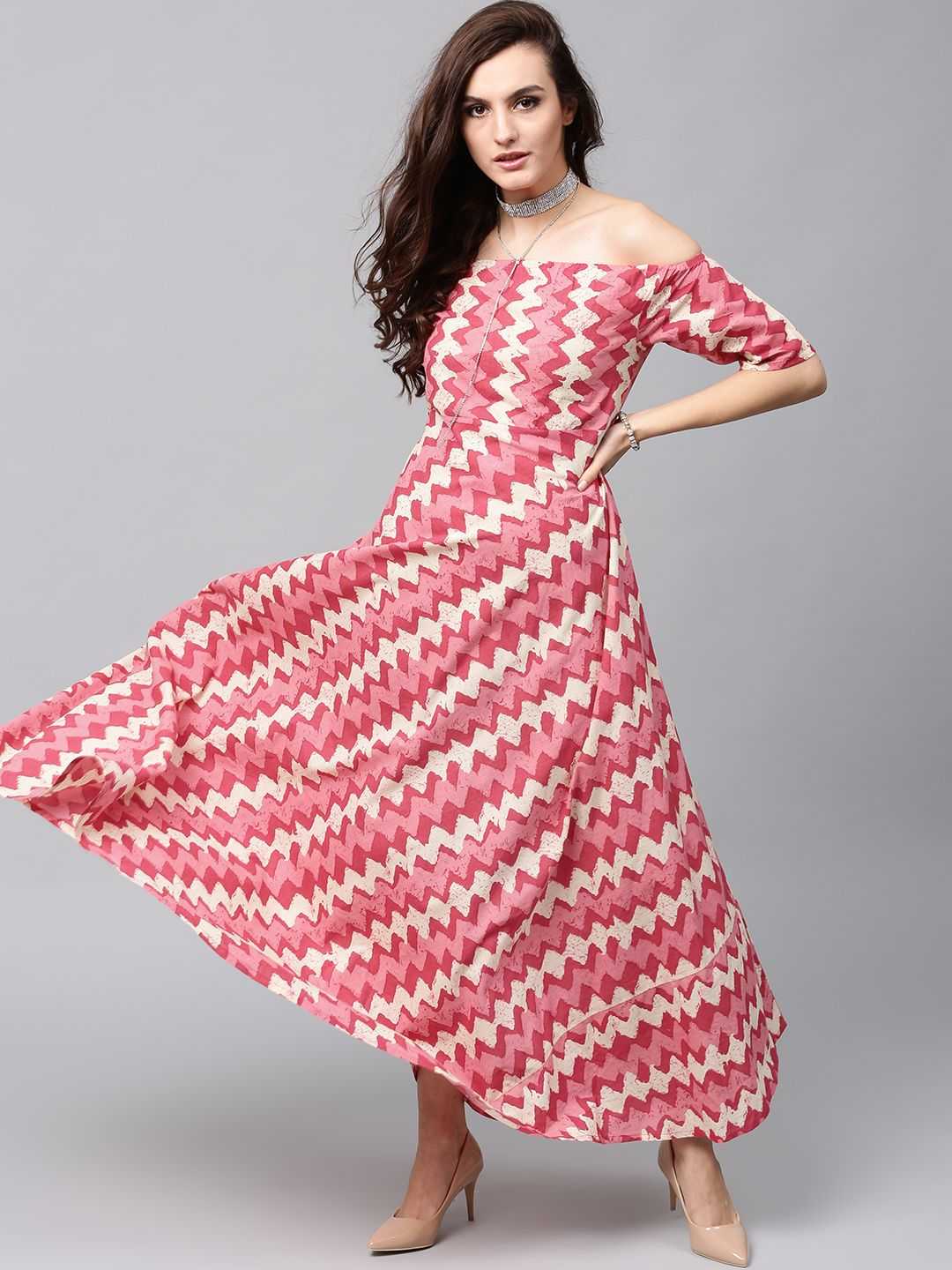 c3210e1330f Buy AKS Women Pink   Cream Coloured Printed Off Shoulder Maxi Dress - -  Apparel for Women from AKS at Rs. 849