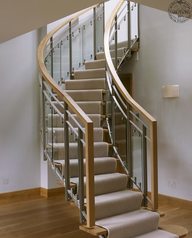 Curved Staircase In Extended House Near Farnham, UK