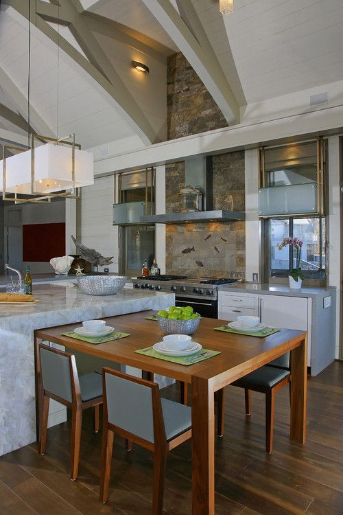 Kitchen Island With Standard Height Table Attached Top Kitchen Table Contemporary Kitchen Kitchen Island Table