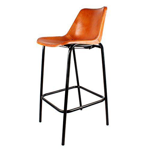 Decoración Vintage Dakar - Taburete alto, estructura de acero y asiento en similpiel, 47 x 54 x 75/108 cm, color negro y marrón - http://vivahogar.net/oferta/decoracion-vintage-dakar-taburete-alto-estructura-de-acero-y-asiento-en-similpiel-47-x-54-x-75108-cm-color-negro-y-marron/ -