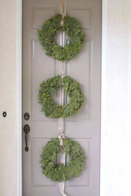 Three Small Wreaths I Would Tie Together With Wide White Silver