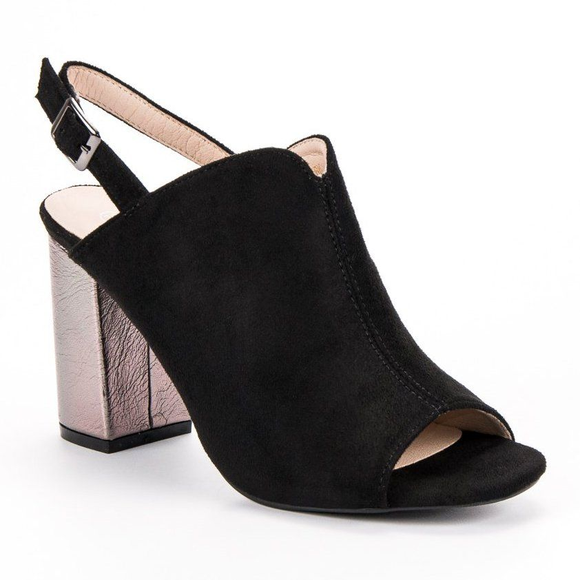 Zabudowane Sandaly Na Slupku Vinceza Czarne Plastic Heels Heels Womens Sandals