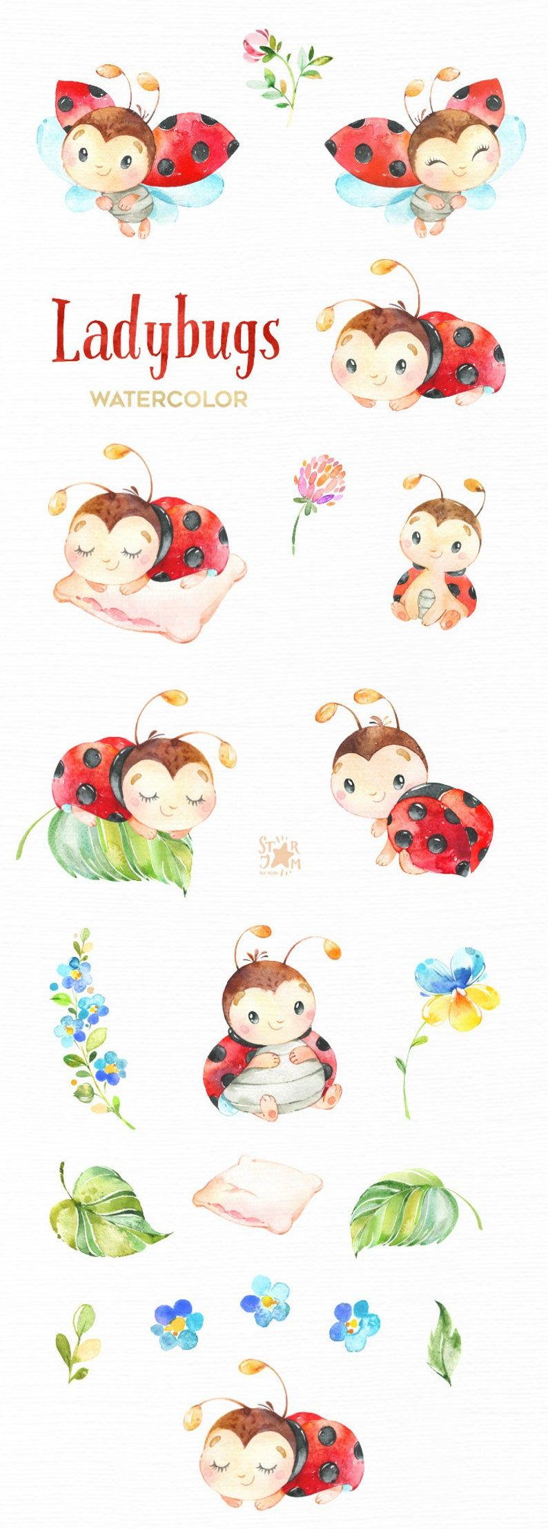 Ladybugs. Little animals watercolor clipart, flowers, leaves, red, nursery art, baby-shower, florals, daisy, greeting, kids, bugs, cute, diy