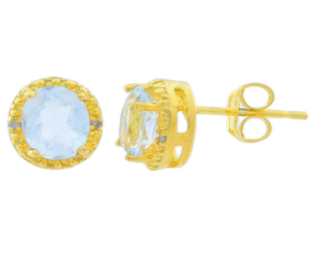 auctions able retail earrings genuine aquamarine gold image