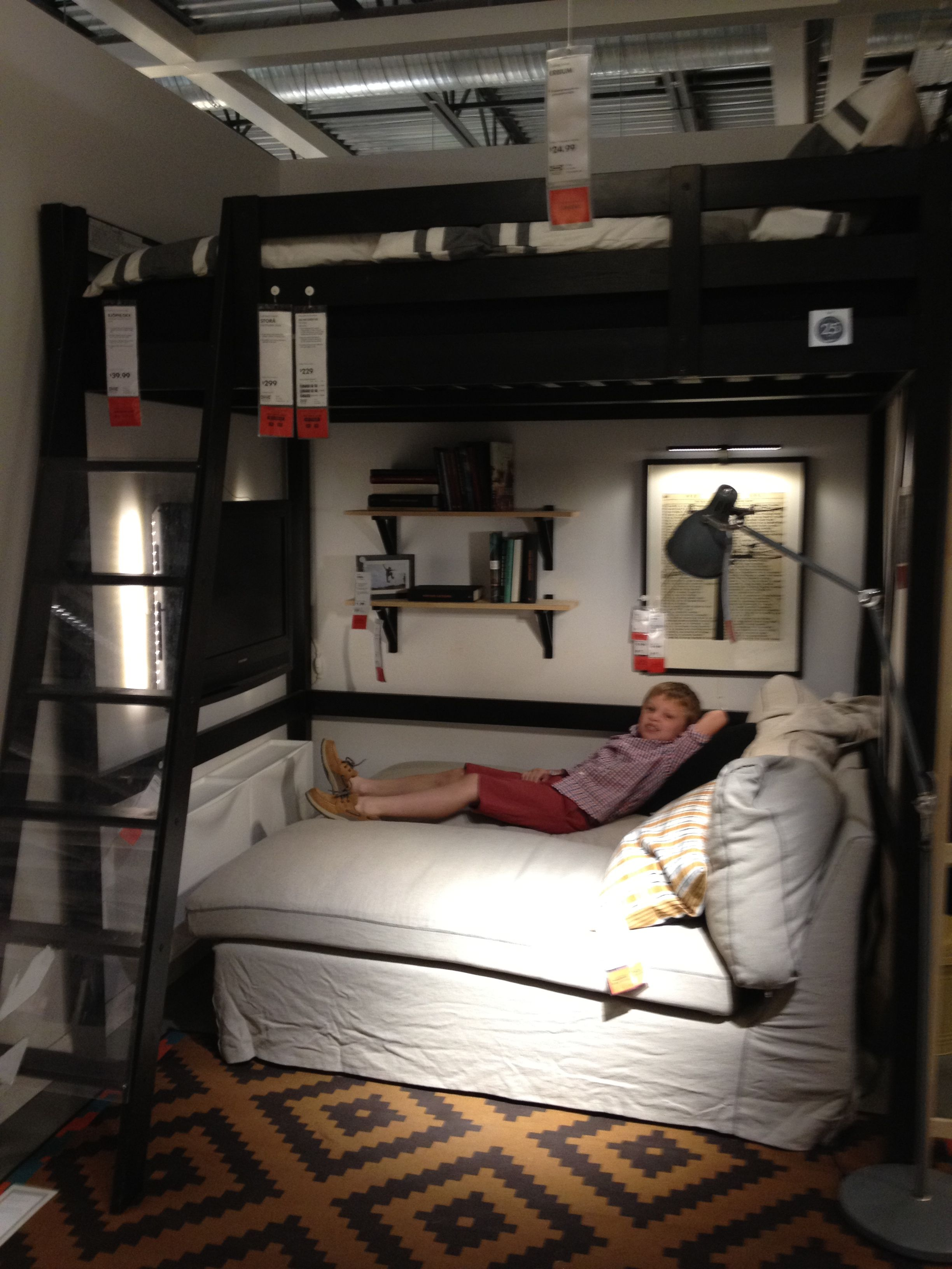 Advantages Of Ikea Full Size Loft Bed Ikea bedroom loft bed with chaise underneath TV on the wall