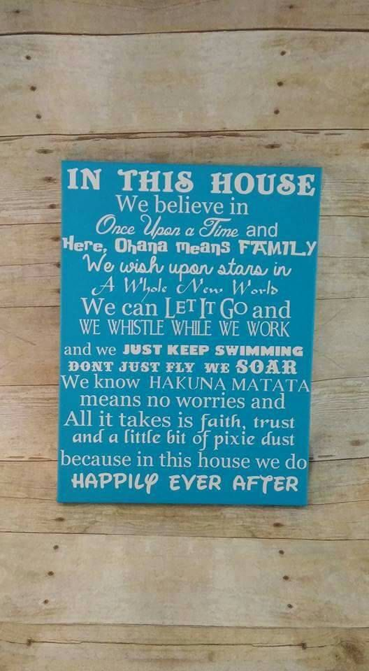 We Do Happily Ever After 16x20 Canvas Movie Quotes Island Blue Disney Sign
