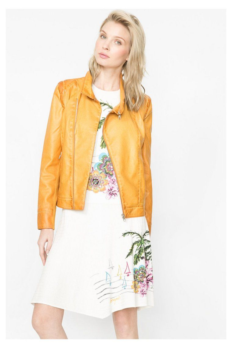 c65a6a814954b Mustard yellow faux leather jacket   Desigual.com B   Cold Weather ...