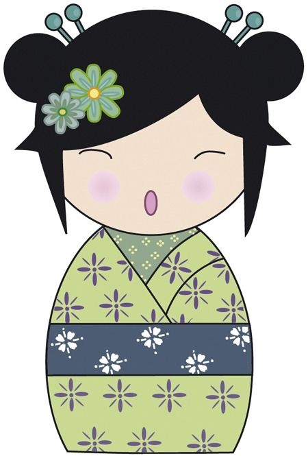 Sticker poup e japonaise vert 40 cm d coration pour for Decoration japonaise