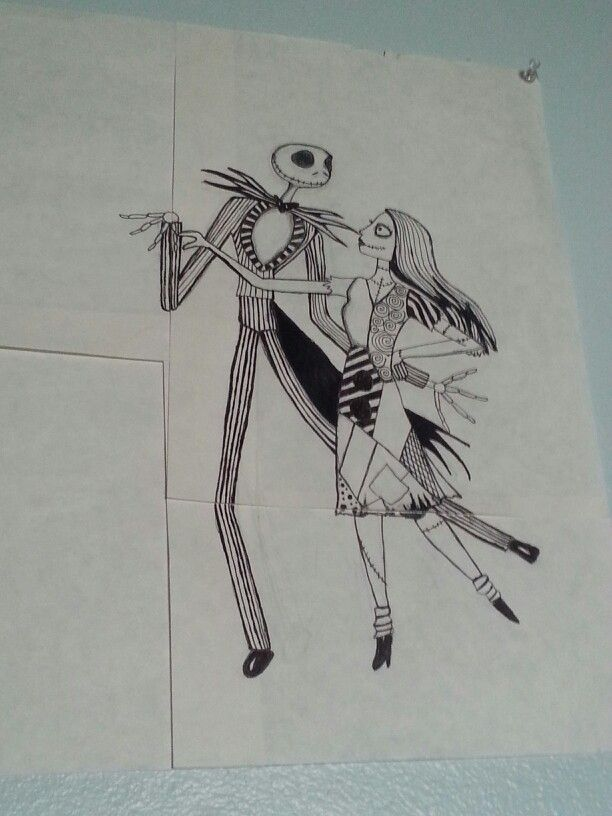 Jack Skellington and Sally drawn by Laura A.