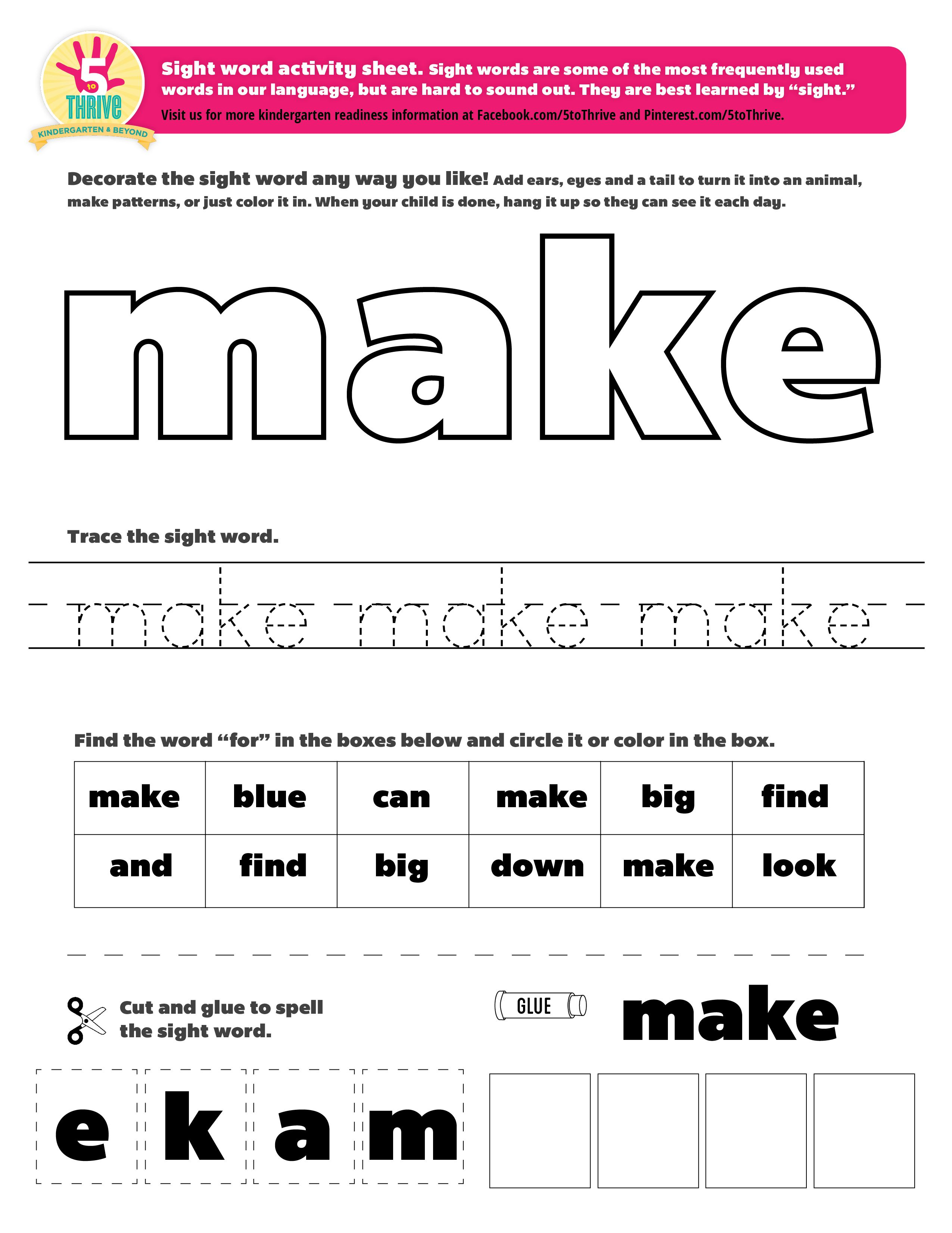 The Sight Word This Week Is Make Sight Words Are Some Of The Most Frequently Kindergarten Worksheets Sight Words Sight Word Worksheets Preschool Sight Words [ 3301 x 2550 Pixel ]