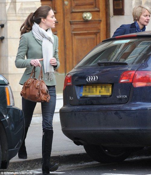 Kate Middleton - ivory scarf / brown purse / olive green blazer / charcoal gray pants / black boots
