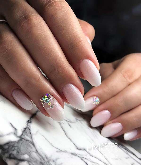 47 Beautiful Nail Art Designs & Ideas : Half Moon Nude Nails