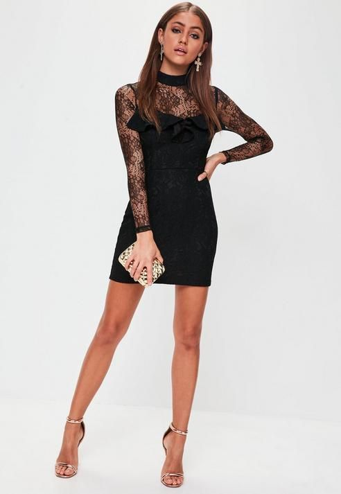 ae5829d41f81 Missguided Black Lace Frill Long Sleeved Dress