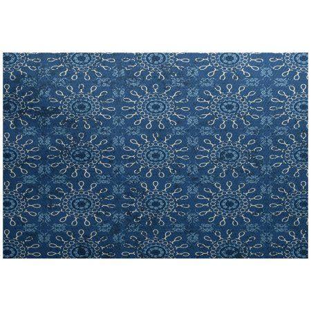 Simply Daisy 4' x 6' Sun Tile Geometric Print Indoor/Outdoor Rug, Blue