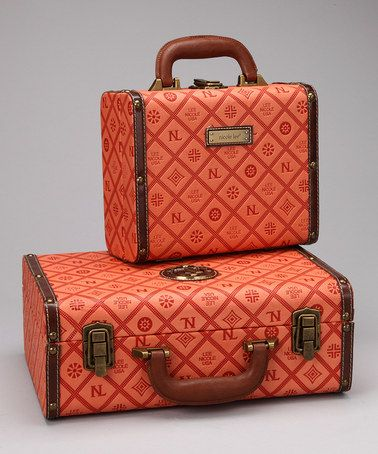 Orange Box Suitcase Set by Nicole Lee Handbags