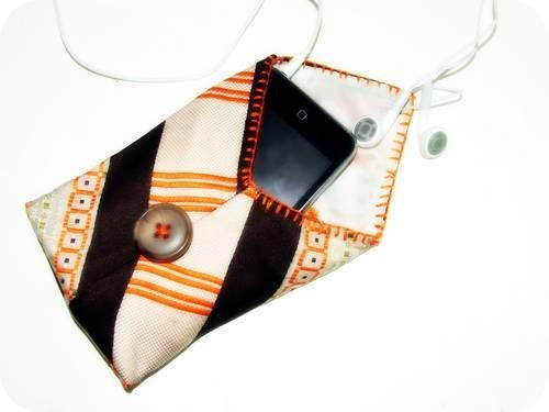 Make an ipod cozie out of an old necktie - tutorial