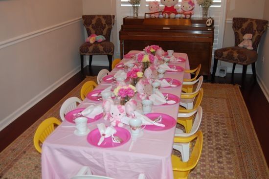 Find This Pin And More On Hello Kitty Tea Party Ideas. Rent Two Kids Size  Tables ...