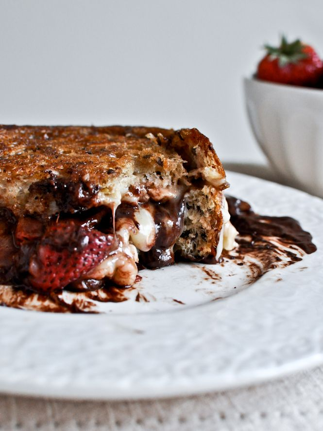 Roasted Strawberry, Brie + Chocolate Grilled Cheese