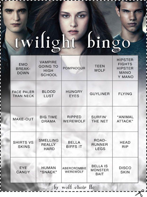 Bingo Twilight Party Birthday Themes For Boys Twilight Funny