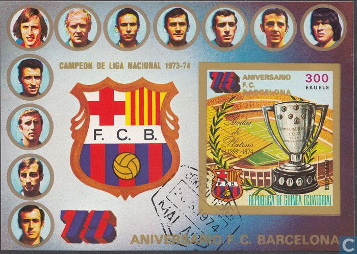 Postage Stamps - Equatorial Guinea - 75 years Soccer Team FC Barcelona