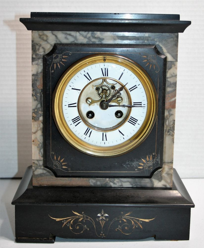 For Sale Antique French Marble Slate Mantel Clock Open Escapement