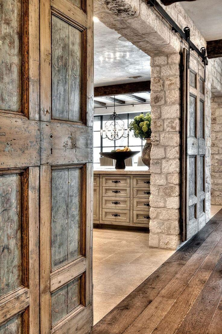 Love the rock and wood combination dream house pinterest maison grange and deco - Porte coulissante apparente ...