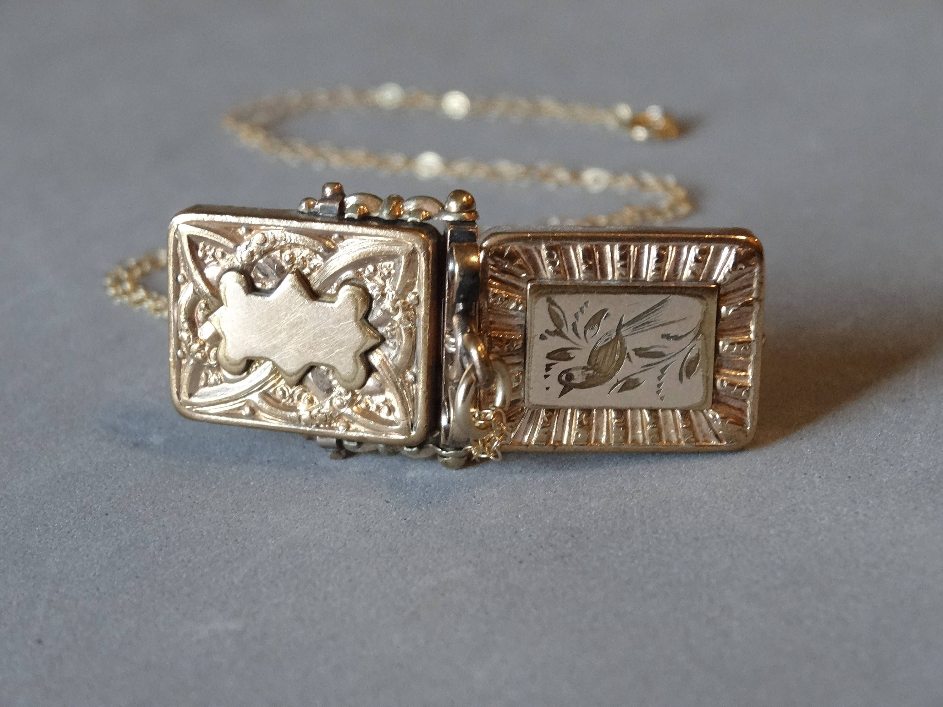 jewelry vintage raw locket floral accents just with square jules and quick antique view gold lockets diamond quartz