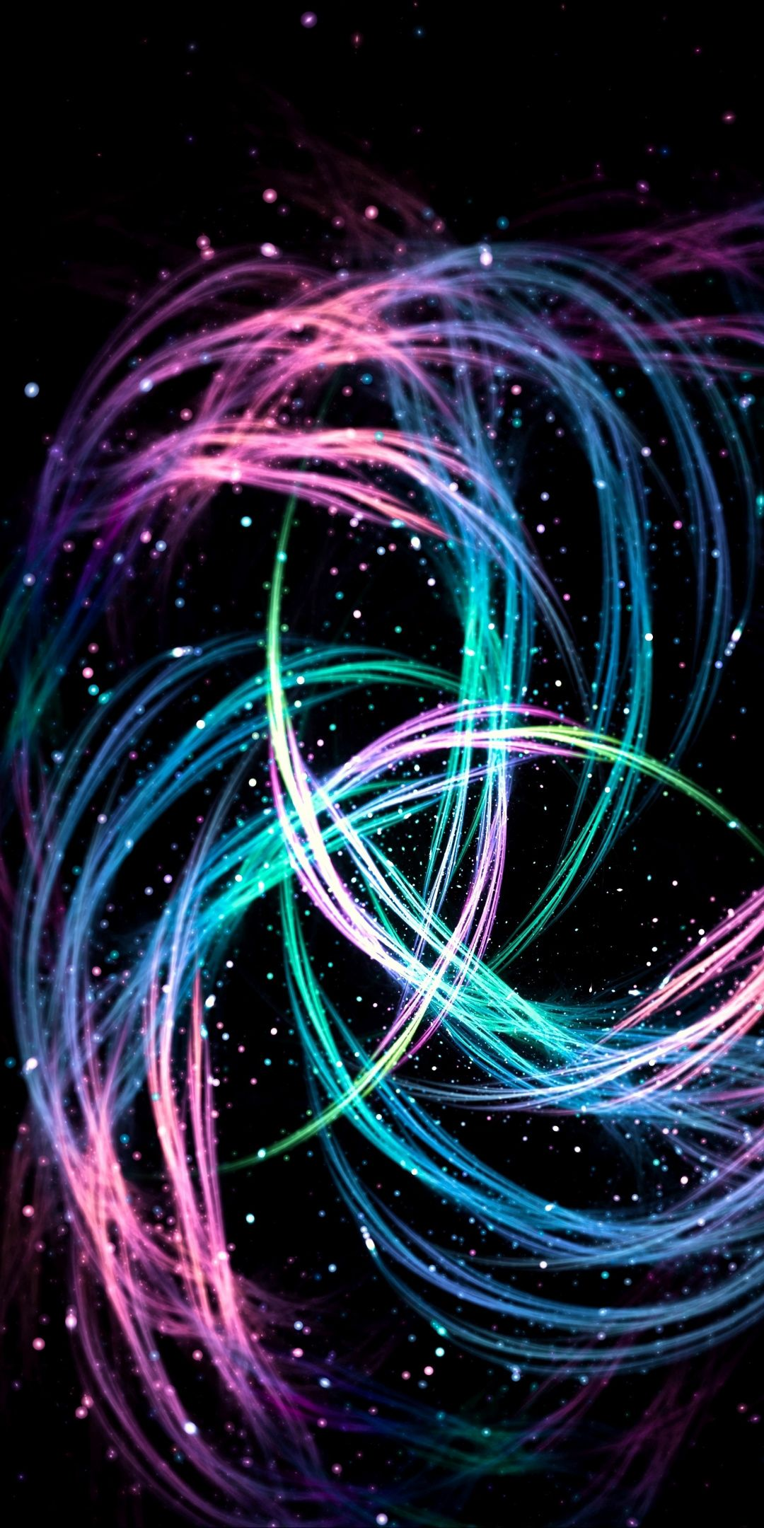 1080x2160 Lines Sparks Glowing Colorful Abstract Wallpaper