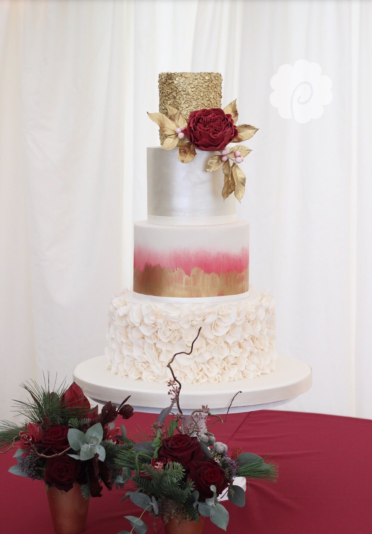 Modern berry & gold lustre ruffle wedding cake | Cakes ...