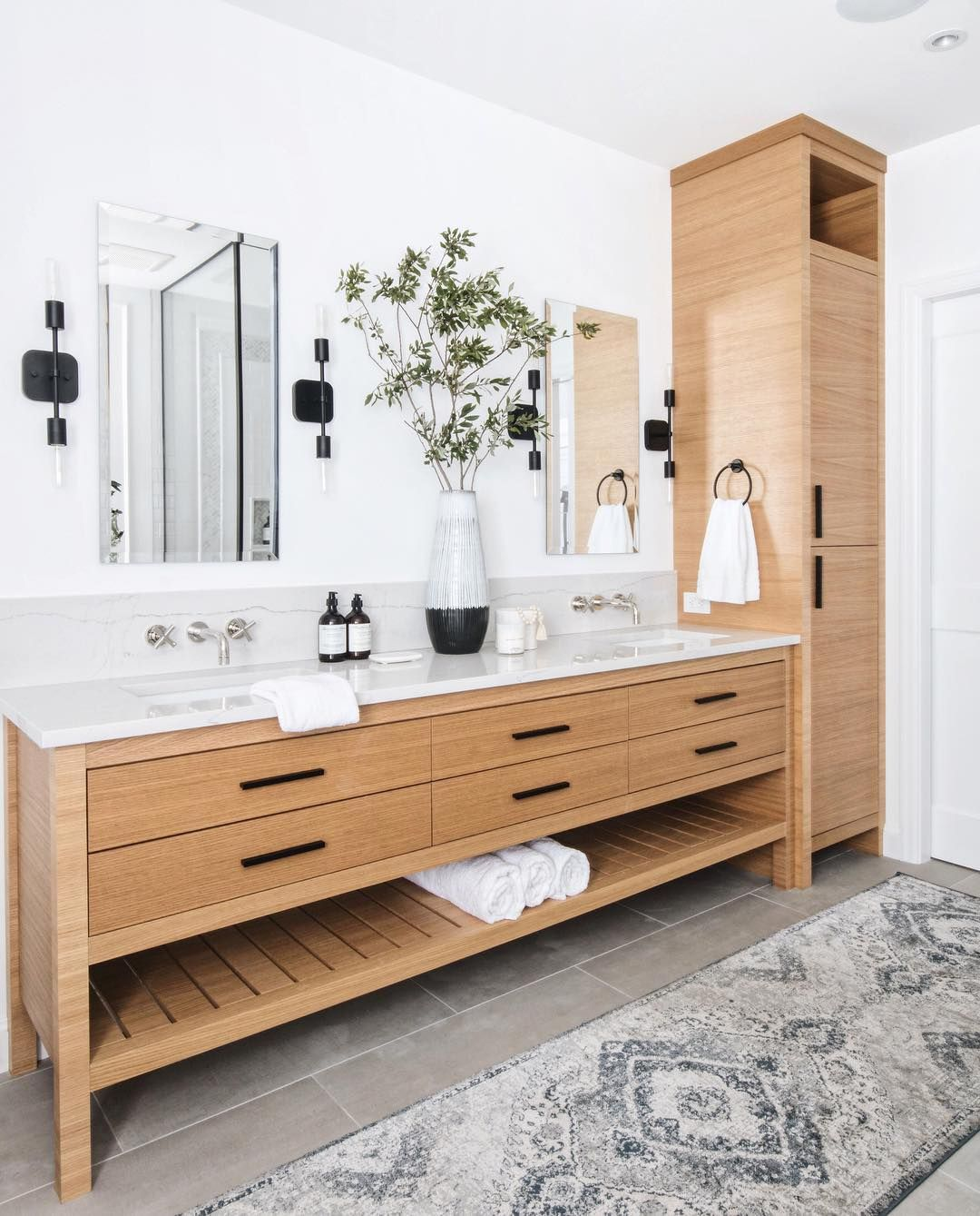 Beautiful Bathroom With Light Wood Vanity With Legs And Matching Linen Tower Love The Matte Black Bathrooms Remodel Bathroom Styling Bathroom Interior Design