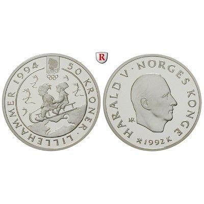 Norwegen, Olav V., 50 Kroner 1992, PP: Olav V. 1957-1991. 50 Kroner 1992. 2 Kinder auf Schlitten. KM 439; Polierte Platte 15,00€ #coins