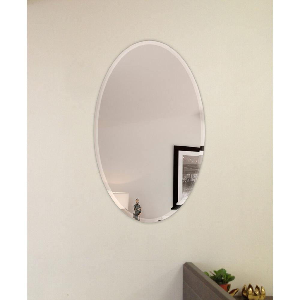 Fab Glass And Mirror 22 In X 30 In Oval Beveled Polish Frameless Wall Mirror With Hooks 799456351803 Wall Mirrors With Hooks Mirror With Hooks Oval Mirror