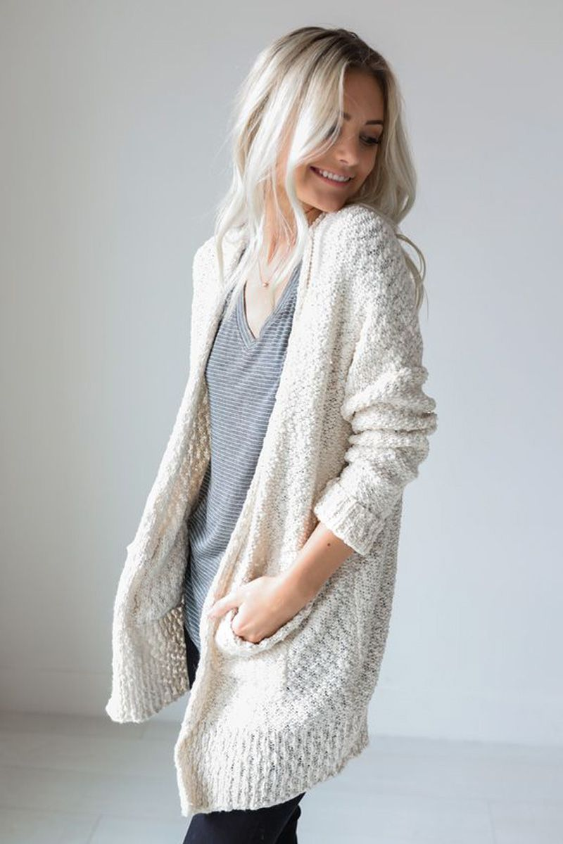 winter #outfits knitted white cardigan   Fall fashion coats