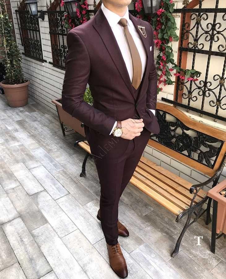 Terziademaltun Italyan Stil Erkek Ceket Yelek Pantolon Bordo Takim Elbise Fz23 T2380 Designer Suits For Men Designer Clothes For Men Suit Fashion