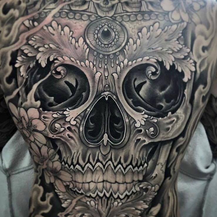 Sugar Skull Tattoo On Full Back By Antony Flemming Tattoo
