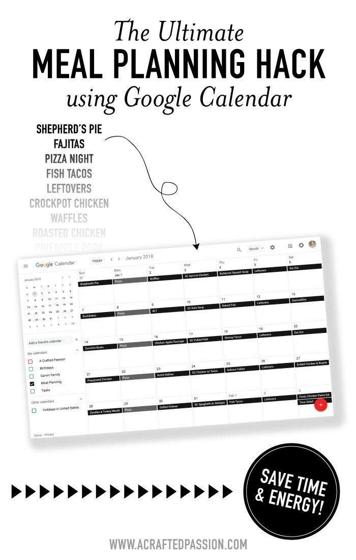 The Ultimate Meal Planning Hack using Google Calendar Google