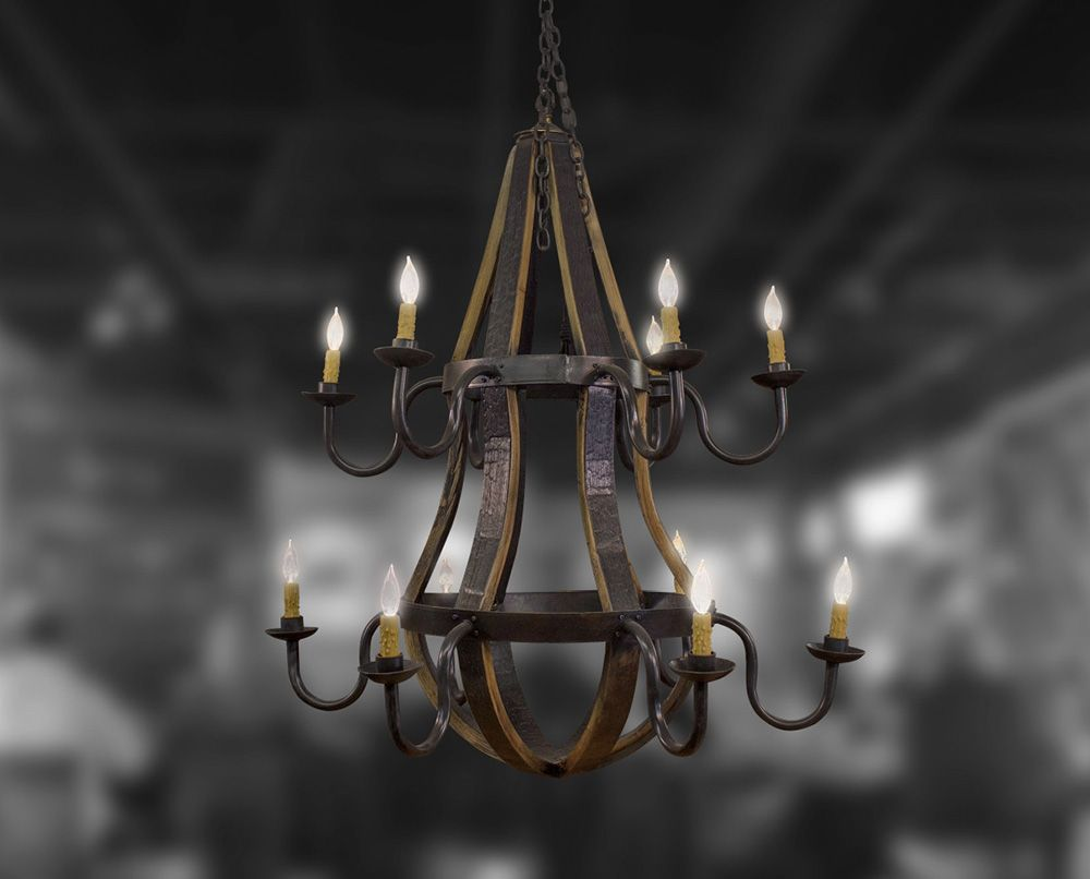 12 light two tier chandelier bourbon barrel furniture bourbon 12 light 2 tier chandelier made using bourbon barrel staves and hoops custom sizes available arubaitofo Gallery