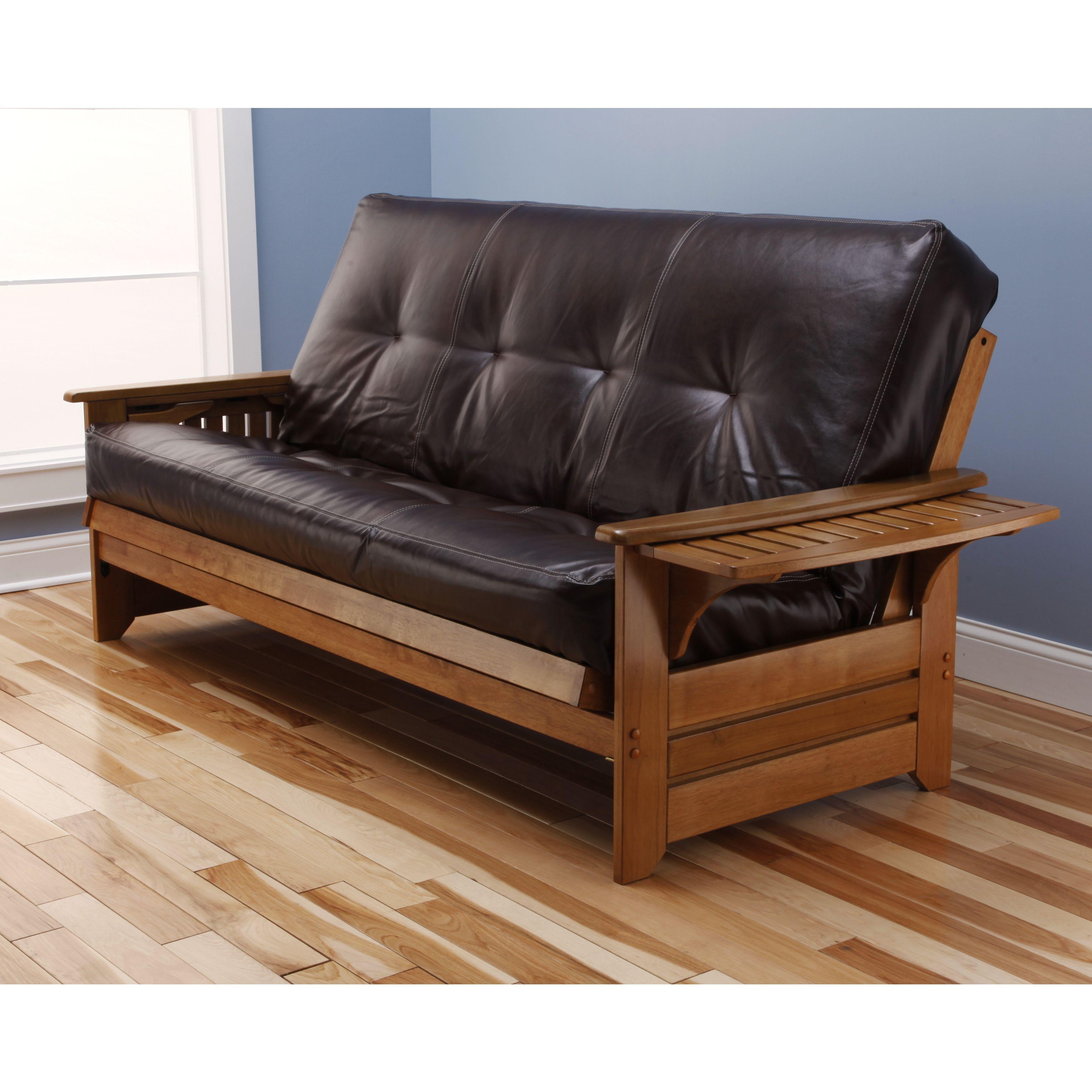 Chesterfield Sofa Rosemount Full Size Futon and Drawer Set Honey Oak Wood Frame And Viva Fibers Tufted Innerspring Mattress Mocha