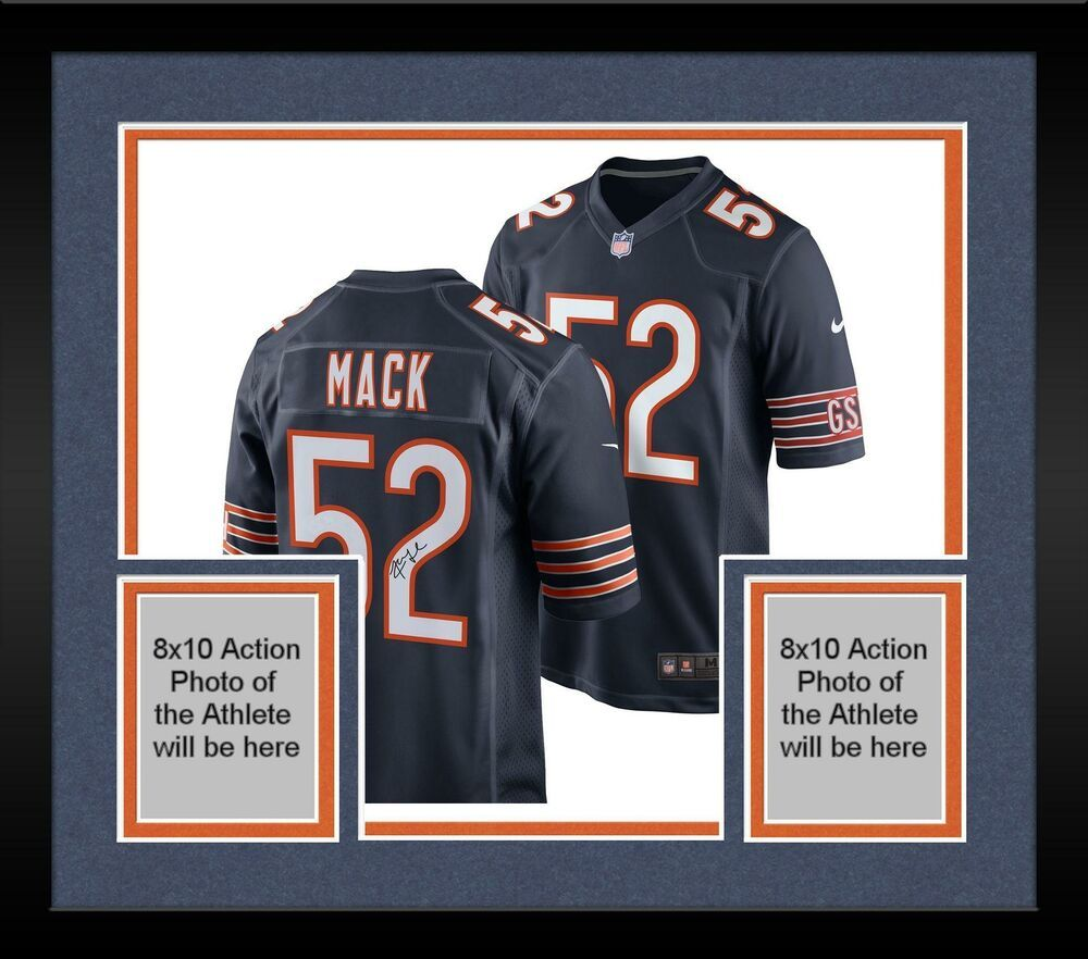 Framed Khalil Mack Chicago Bears Autographed Nike Navy Game Jersey Sportsmemorabilia Autograph Football Navy Games Chicago Bears Jersey