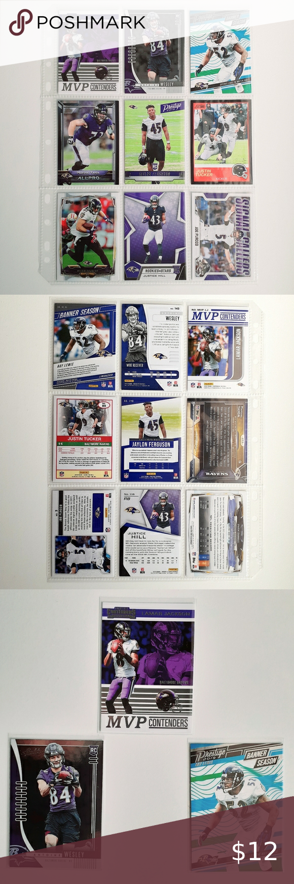 Baltimore Ravens 9 Card Lot [FBL3_1] ThisBaltimore Ravensfootball card lot will include every card pictured. You will receive the following 9 cards:  2019 Panini Contenders MVP #16Lamar Jackson 2019 Absolute #143Antoine Wesley RC 2019 Prestige Banner Season #6Ray Lewis 2015 Topps All Pro #273Marshal Yanda RC 2019 Prestige #248Jaylon Ferguson RC 2019 Score Black #89Justin Tucker 2014 Topps #328Owen Daniels 2019 Rookies & Stars #116Justice Hill RC 2018 Score Signal Callers #3Joe Flacc