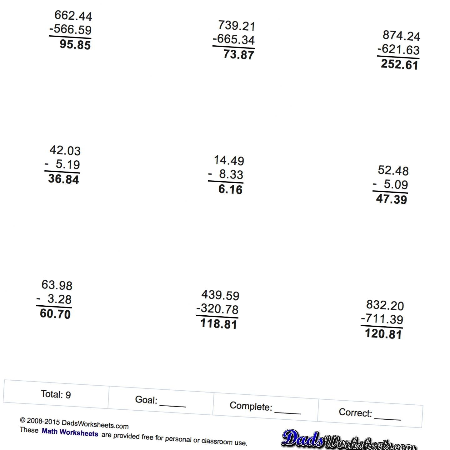 Math Worksheets Subtraction With Decimals Math Worksheets Worksheets Free Printable Math Worksheets
