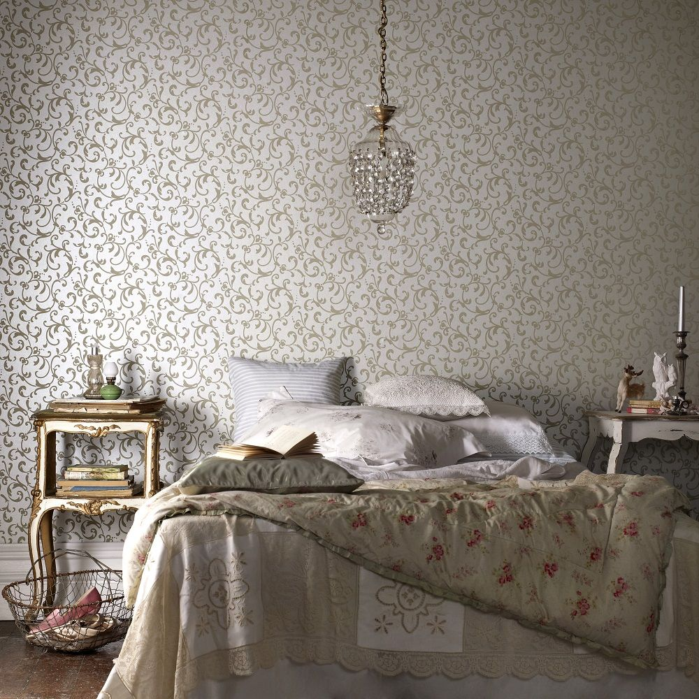 Beautiful Bedroom Design Inspiration With Floral Wallpaper Appealing Vintage Grey White