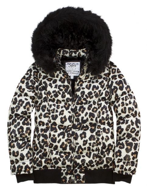 Animal Print Puffer Coat With Faux Fur Hood Girls Coats