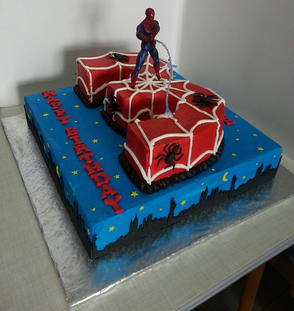 Superb Spiderman Birthday Cake With Images Spiderman Birthday Cake Personalised Birthday Cards Beptaeletsinfo