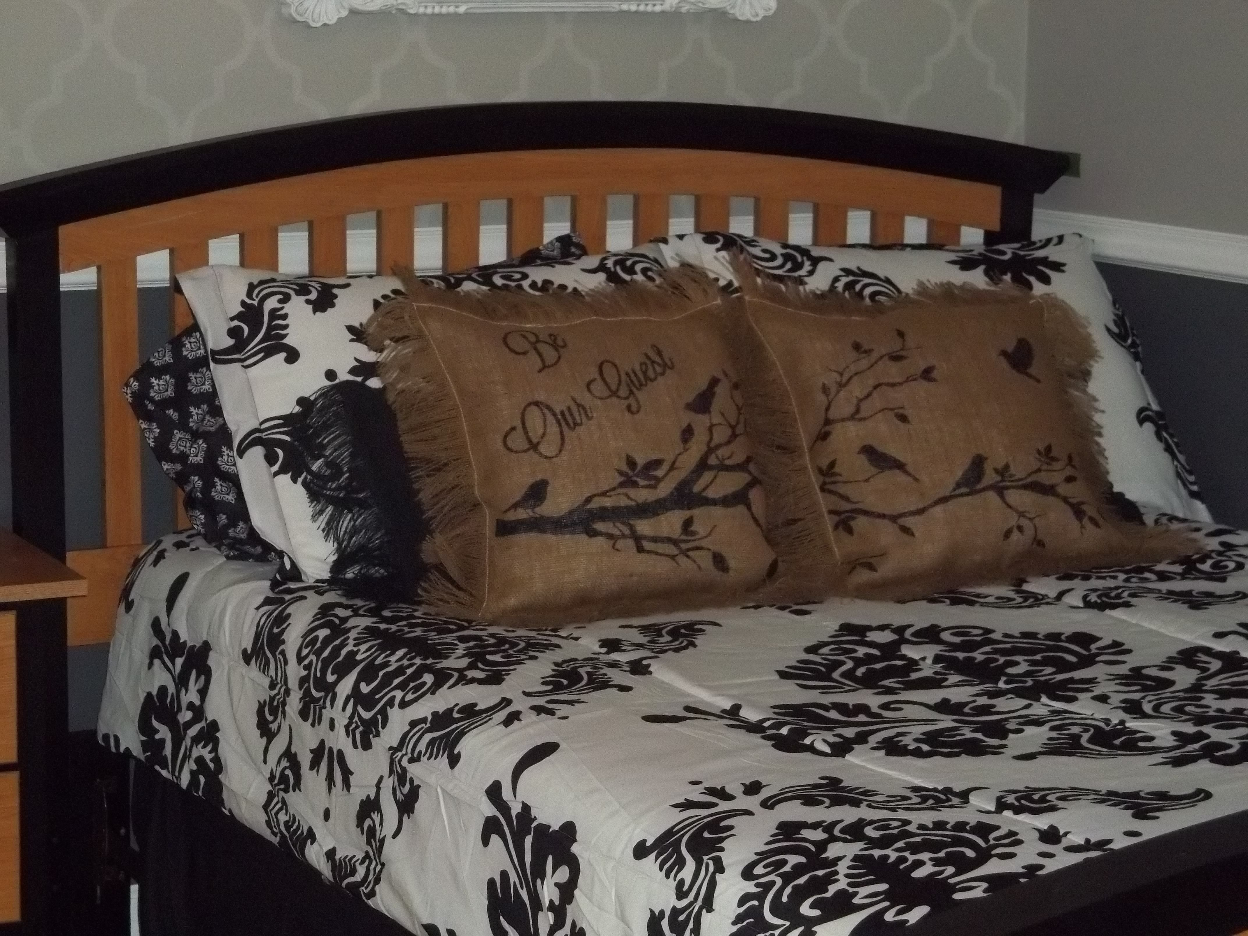 DIY Stenciled Guest Room Pillows Home Decor