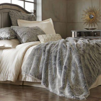 gray ombre faux fur blanket shams