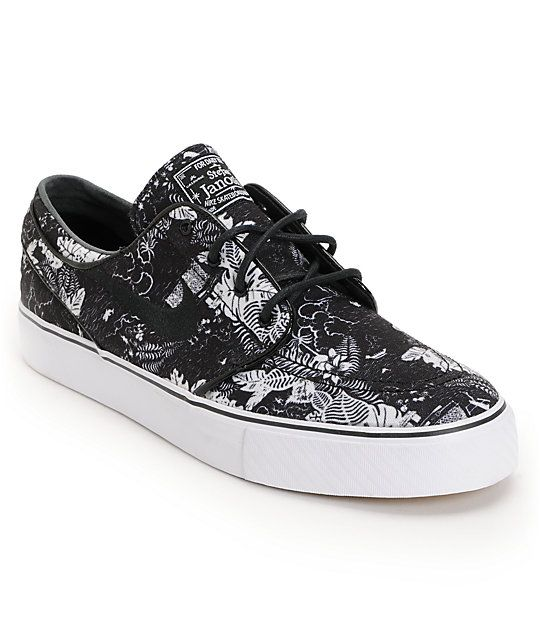 official photos a502f dea22 Nike SB Zoom Stefan Janoski Black Floral Sail Skate Shoes