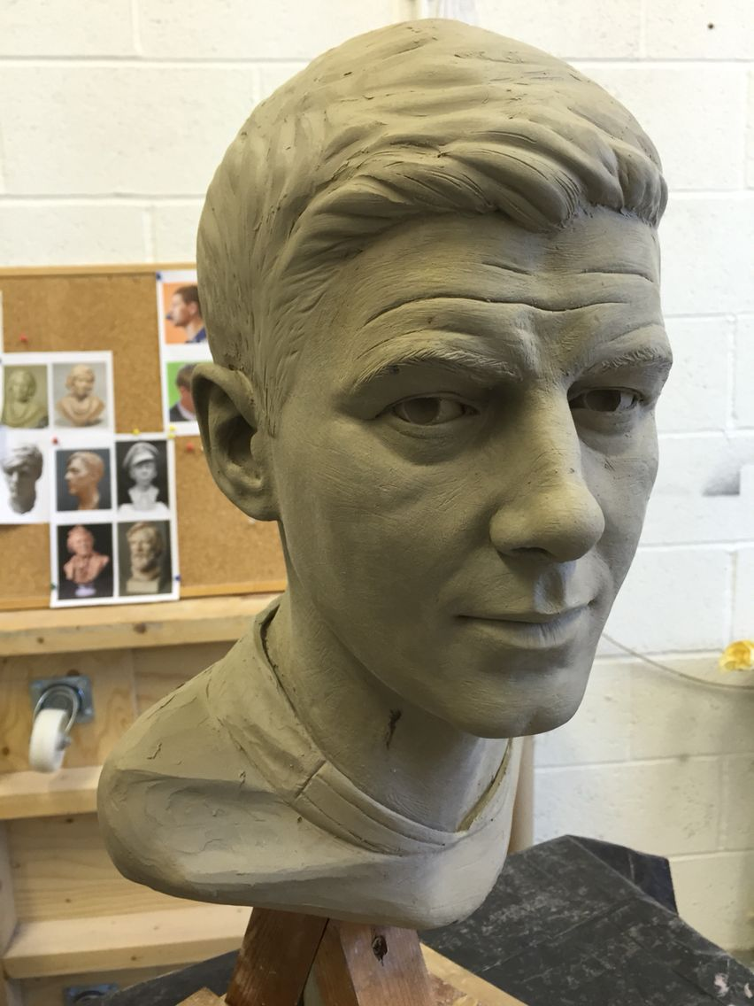 Steven Gerrard, sculpted in clay.